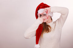 Christmas girl making finger frame gesture Stock Photography