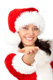 Christmas girl offering a helping hand Stock Images
