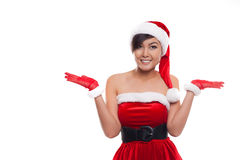 Christmas girl open arms, isolated over white. Royalty Free Stock Image