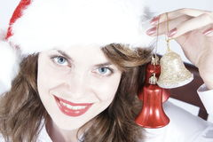 Christmas Girl with Ornaments Royalty Free Stock Photos