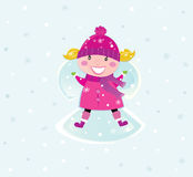 Christmas girl in pink costume making snow angel. Cute christmas girl lying in snow and making angel. Vector cartoon illustration Stock Photography