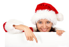 Christmas girl pointing Royalty Free Stock Photography