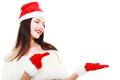 Christmas Girl Pointing Stock Photography