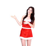 Christmas girl pointing Royalty Free Stock Image