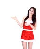 Christmas girl pointing Royalty Free Stock Image