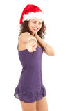 Christmas girl pointing you Royalty Free Stock Image