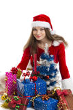 Christmas girl and presents Royalty Free Stock Photo