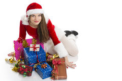 Christmas girl and presents Royalty Free Stock Photos