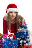 Christmas girl and presents Stock Photography
