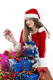 Christmas girl and presents Royalty Free Stock Photography