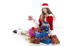 Christmas girl and presents Stock Photo