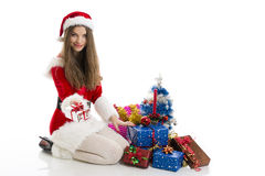 Christmas girl and presents Stock Image
