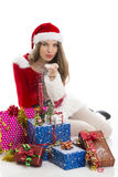 Christmas girl with presents and snow Royalty Free Stock Photography