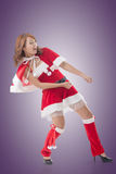 Christmas girl pull something Stock Images