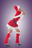 Christmas girl pull something Royalty Free Stock Photo