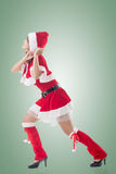 Christmas girl pull something Royalty Free Stock Images