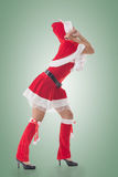 Christmas girl pull something Stock Photography