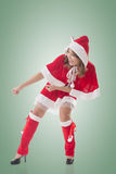 Christmas girl pull something Stock Image