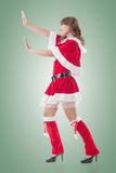 Christmas girl push something Stock Photo