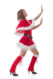 Christmas girl push something Stock Image
