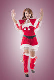 Christmas girl push something Royalty Free Stock Photo
