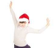 Christmas girl with raised arms Stock Photography