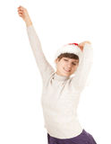 Christmas girl with raised arms Stock Image