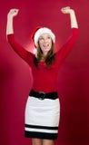 Christmas Girl Raises Her Hands Stock Photos