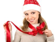 Christmas girl with red bow Stock Photography
