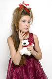Christmas girl in red dress Royalty Free Stock Photo