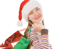 Christmas girl in red hat Royalty Free Stock Photo