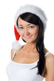 Christmas girl in red hat Stock Photo