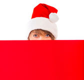 Christmas girl with red placard on white Royalty Free Stock Images