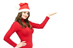 Christmas girl in red santa hat Stock Photo