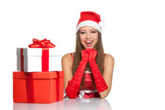 Christmas girl in red santa hat Stock Photo
