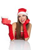 Christmas girl in red santa hat Royalty Free Stock Photography