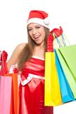 Christmas girl in red santa hat Stock Photography
