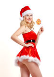 Christmas girl in santa Royalty Free Stock Photography