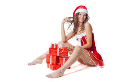 Christmas girl in santa Royalty Free Stock Image