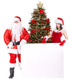 Christmas girl, santa claus with banner and tree. Stock Photo
