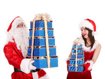 Christmas girl, santa claus with gift box group. Stock Images