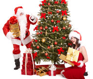 Christmas girl, santa clause and fir tree. Stock Photography