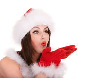 Christmas girl in santa hat. Royalty Free Stock Image