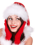 Christmas girl in santa hat. Royalty Free Stock Images
