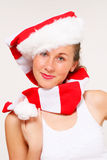 Christmas girl in santa hat Stock Image