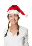 Christmas girl in santa hat Royalty Free Stock Photos
