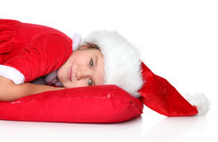 Christmas girl in santa hat Royalty Free Stock Photo