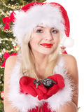 Christmas girl in santa hat holding auto keys. Stock Photo