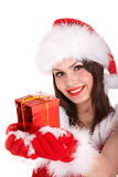 Christmas girl in santa hat with red gift box Royalty Free Stock Photos