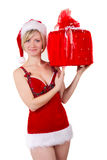 Christmas girl seductive with gift isolated Royalty Free Stock Photography